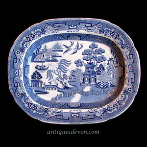 1832 Robinson & Wood Blue White Willow Ironstone Transferware Platter