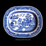 1820's Elkin, Knight & Co. Blue & White Willow Transferware Platter
