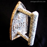 c. 1900 French Cast Iron Speckled Enamel Graniteware Unic #5 Sad Iron