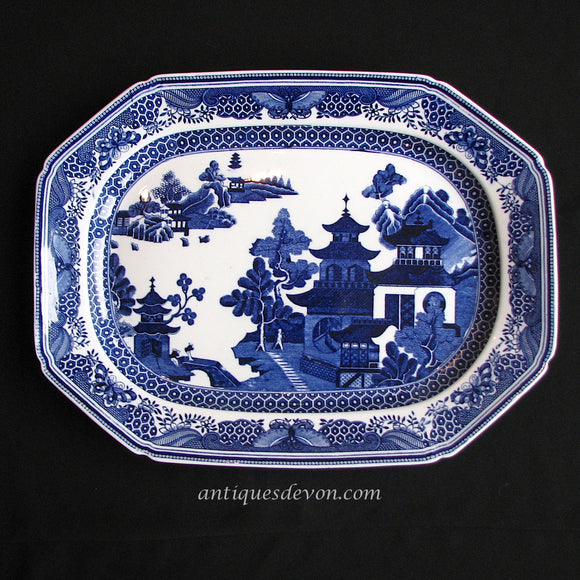 1890's Large Spode Copeland New Bridge Queen Charlotte Willow Platter