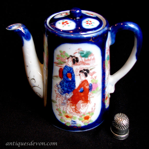 1880's Child's Japanese Geisha Ware Cobalt Blue Chocolate Pot Teapot