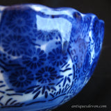 1860's Deep Flow Blue Japanese Meiji Period Porcelain Rice / Slop Bowl