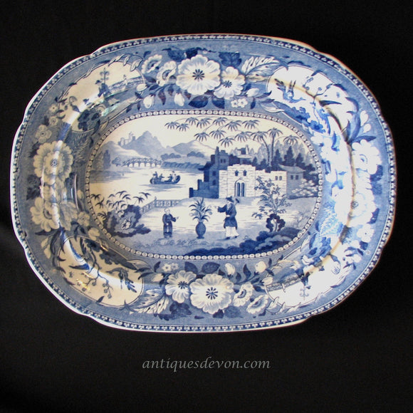 1820's Blue White Chinese Flowering Pot or Gardener Pearlware Platter