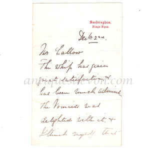 "1880's ""Princess Alexandra delighted w/whip"" Sandringham Royal Letter"
