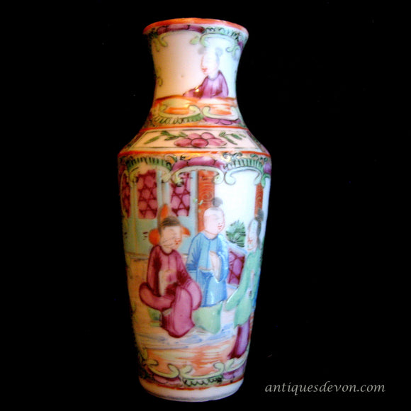 1890's Chinese Export Qing Dynasty 19th c. Famille Rose Miniature Vase