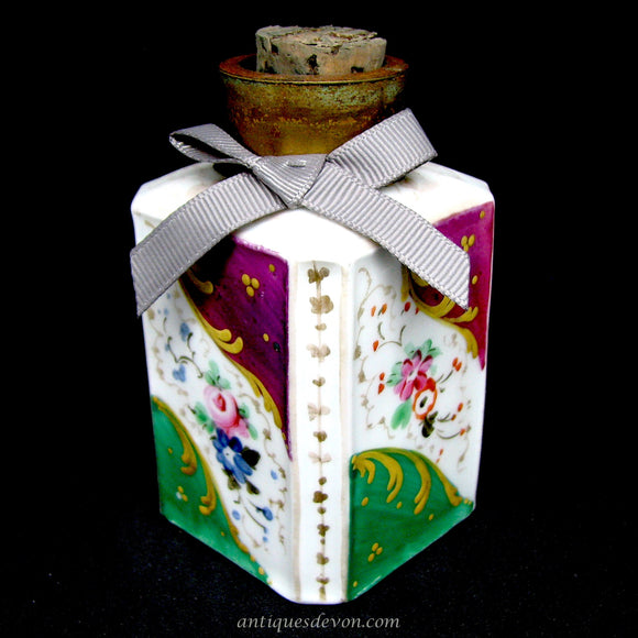 1870's Victorian Porcelain & Brass Colourful Corked Fancy Ink Bottle