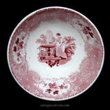 "1820's Red Transfer Romantic ""Persians"" Pattern Pearlware Slop Bowl"