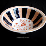 1890 Victorian Staffordshire Striped Pink Orange Ironstone Fruit Bowl