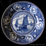 1950's Dutch Societe Ceramique Blue White Sailboat Wall Hanging Plate