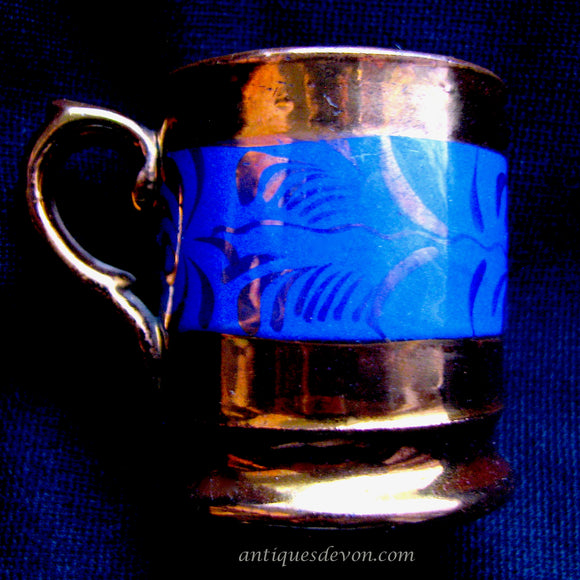 1850's Miniature Child's Copper & Pink Luster Blue Banded Coffee Can