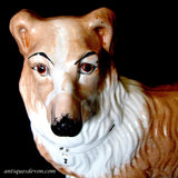 1890's Large English Victorian Staffordshire Pottery Collie Dog Figure