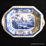 1830s Minton Tiny Chinese Marine Blue & White Tea Tray Biscuit Platter