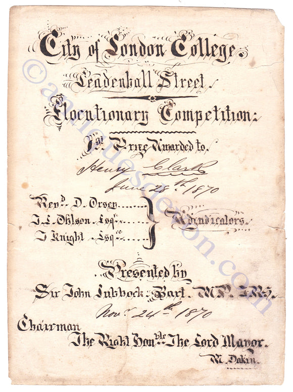 1870 City of London College Handwritten Lettering MP Sir John Lubbock