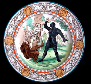 1910 Wedgwood Transferware Walter Scott IVANHOE Black Knight Plate