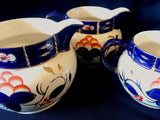 1920's Set of 3 Graduated Lustreware Large Blue White Gaudy Welsh Jugs