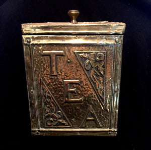 1890's Victorian era Brass Clad Tin Lined Heavy Wooden Tea Caddy Box