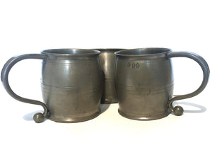 1890's Victorian 3 piece Heavy Pewter Tankard Set, Fleur de Lis Mark