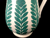1880s Dudson Sprig Leaves Victorian Green-White Jug/Pitcher-Pewter Lid