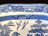 1850's Shaw's Opaque China-Blue Willow Pearlware Transferware Platter