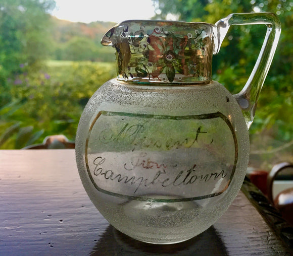 1890's Campbeltown Scotland Ground Glass Victorian Souvenir Pontil Jug