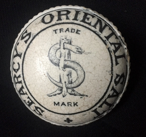 1890 Searcy's Oriental Salt Button Top Pot Lid-Victorian Advertising