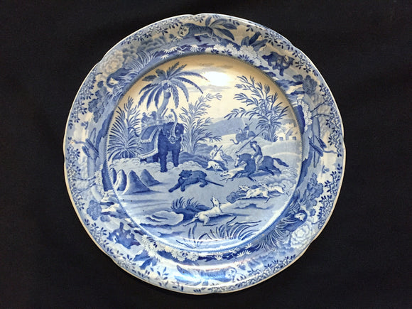 1820 Blue Transferware Pearlware Plate: Death of Bear Print by Howitt