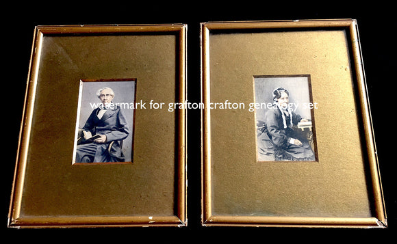 Genealogy-1890's framed CDV photo set Crafton/Grafton, Croydon, Surrey