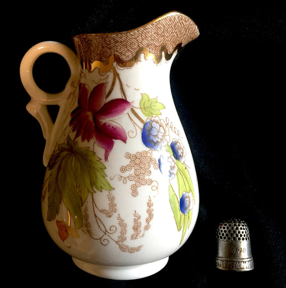 1880 Chinoiserie Flower George Jones? 5 inch Porcelain Lustre Milk Jug