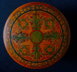1916 dated WWI era Round Multi-Color Painted Treen Wooden Floral Box