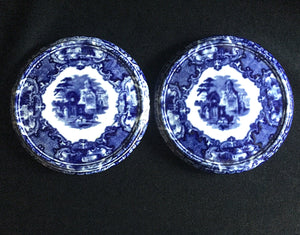 "1890's 2 old George Jones ""Abbey"" Blue & White Transferware Tea Trays"