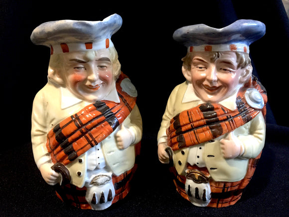 1900 Scottish 2 Toby Jugs in Highland Tartan Kilts-Clan Scotland Dress