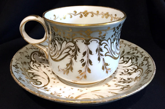 circa 1860's Gold Antique Victorian Copeland Cup & Saucer, Fancy Mark