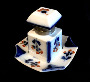 1900 Porcelain Continental Floral Red & Blue Victorian Antique Inkwell