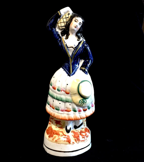 1860's Victorian 8 inch Staffordshire Figure of Girl w Jug-Cobalt Blue
