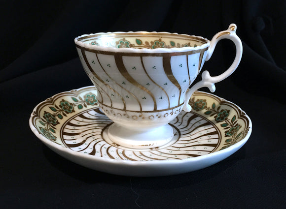 c. 1860's Gold & Green Victorian Unmarked Porcelain China Cup & Saucer