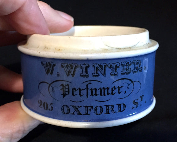 1870 W Winter Oxford St London Perfumer Advertising Blue Pot Lid Base