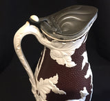 1870's Victorian Dudson Brown Fallow Deer Jug / Pitcher w Pewter Lid
