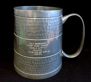 1949 WWII era Military RAF Malaysia ID'd as JEG Hancock, Engraved Pewter Tankard