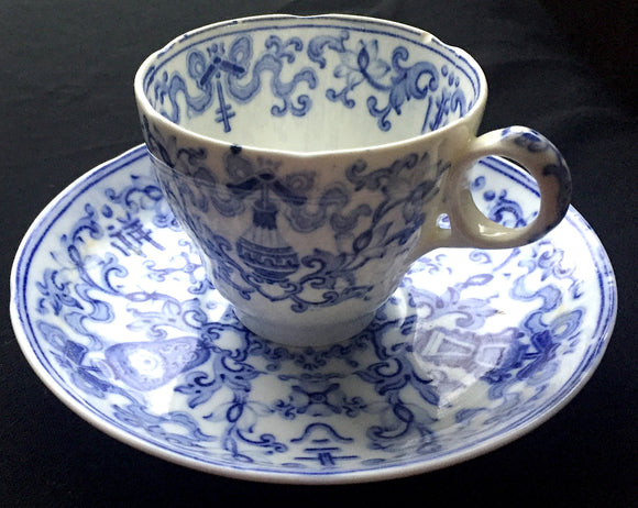 1860's Blue & White Transferware Cup & Saucer w/ interesting 4654 mark