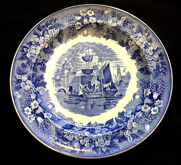 c. 1910 Ferrara Etruria Wedgwood Blue & White Plate with Medieval Ship