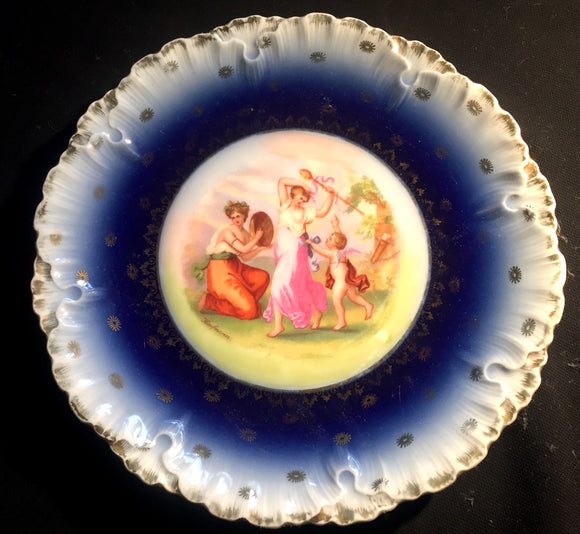 c 1900 Angelica Kauffmann Czech Signed Victoria China Flow Blue Plate