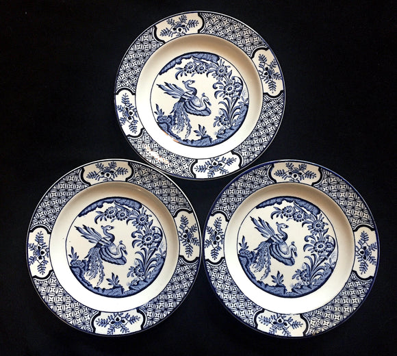 1930's 3 Wood & Sons Blue & White Yuan Cake Plates by Frederick Rhead
