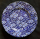 4 Burleigh 7 inch Blue & White Floral Calico Staffordshire Cake Plates