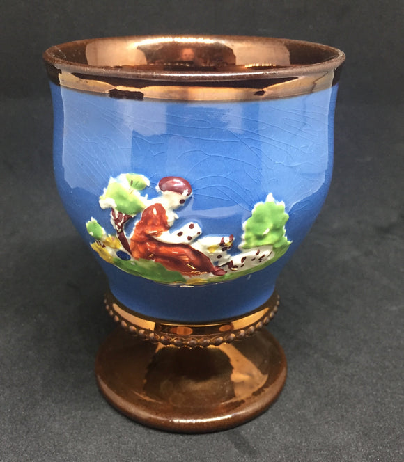 19th c Victorian era Copper Lustre Goblet-Prattware Decoration 2 Sides