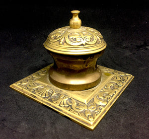 1860's Ornate Brass Victorian Inkwell with Glass Inkpot