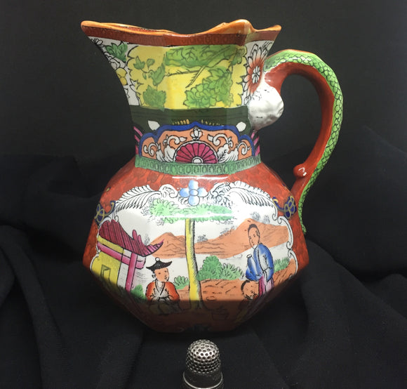 c. 1900 Antique Georgian Red Mason Hydra Snake Handled Oriental Jug