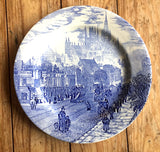 1920 London Scene English Ironstone Tableware EIT Blue White Transferware Plate