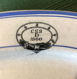 1900 CSS D Blue & White Transferware Platter, Ship or Railway