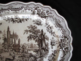 "1820 Large Thomas Fell ""Antiquarian"" Deer Brown Transferware Platter"