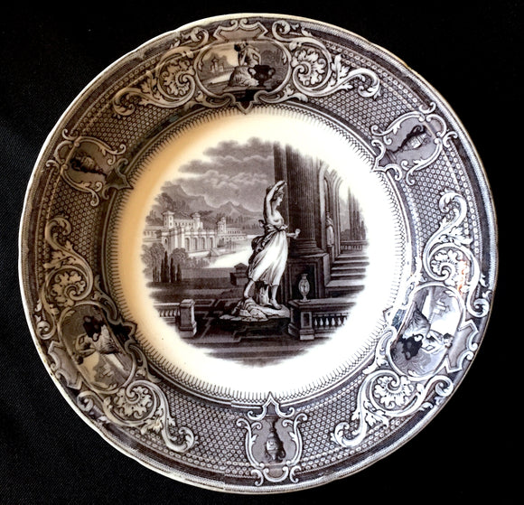 1840 Clementson Black Mulberry Sydenham Staffordshire Transferware Plate